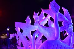 Breckenridge, Colorado, USA: Jan 28, 2018 : 2018 Team Wisconsin- Vogt: `A Dance Devine` at Night Snow Sculpture. The 28th Annual International Snow Sculpture Stock Photo