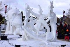 Breckenridge, Colorado, USA: Jan 28, 2018: 2018 Team Wisconsin- Vogt: `A Dance Devine` Snow Sculpture. Breckenridge International Snow Sculpture Championships Royalty Free Stock Images