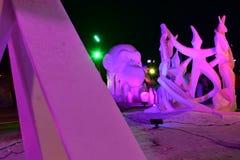 Breckenridge, Kolorado, usa: Jan 28, 2018: Breckenridge nocy Śnieżnej rzeźby festiwal 2018 Zdjęcia Royalty Free