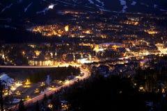 Breckenridge at Night. Town of Breckenridge at Night - Mountain Town Closeup. City Lighting royalty free stock photos