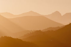 Breckenridge Ski Slopes bei Sonnenuntergang Stockfotografie