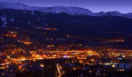 Breckenridge Town. In Colorado State. Winter Evening in the Breckenridge royalty free stock photo