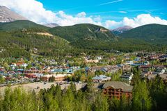 Breckenridge Town. In Summit County in Colorado, United States. Breckenridge Late Spring Panorama royalty free stock photo