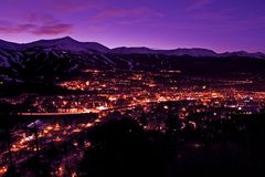 Breckenridge Twilight. Breckenridge Winter Twilight Panorama. Town of Breckenridge, Colorado, United States Royalty Free Stock Photography