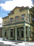 Breckenridge Visitors Center. Historic buildings line the street of Breckenridge,Colorado.  Breckenridge is a popular destination spot for world class Royalty Free Stock Image