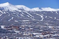Breckenridge Winter Panorama. Breckenridge, Colorado Winter Panorama. Beautiful Clear Sunny Day in Breckenridge, CO, United States stock photography