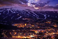 Breckenridge Winter Sunset. The Town of Breckenridge Was Formally Created in November 1859. Colorado Photo Collection stock images