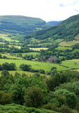 Brecon beacons near Llanthony priory. Valley view in Brecon beacons national park on Llanthony priory in Wales in Great Britain Royalty Free Stock Images