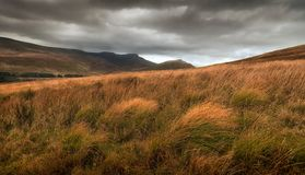 The Brecon Beacons. Storm clouds over Pen y Fan and Corn Du, the highest peaks in the Brecon Beacons, South Wales, UK Royalty Free Stock Photos