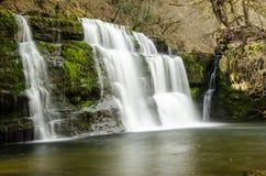 Brecon vattenfall Wales Royaltyfri Fotografi