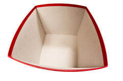 Bred öppen röd ask som isoleras på Whte Arkivbilder
