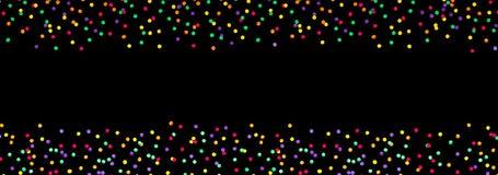 Bred bakgrund för vinkelferieparti med mångfärgade konfettier stock illustrationer