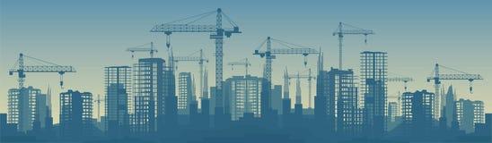 Bred banerillustration av byggnader under konstruktion i process stock illustrationer