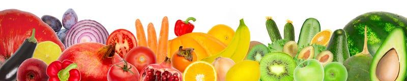Bred collage av nya frukter och grönsaker för den isolerade orienteringen royaltyfri illustrationer