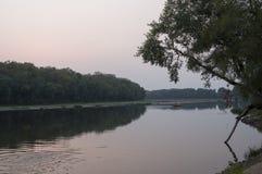 Bred flod som flödar över grön skognedgång afton Reflexioner av träd i det lugna vattnet sundown royaltyfri foto