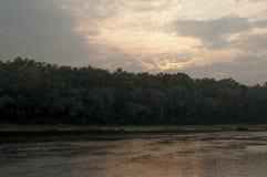 Bred flod som flödar över grön skognedgång afton Reflexioner av träd i det lugna vattnet sundown fotografering för bildbyråer