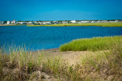 Bred flodmynning i kust- område av uddtorsk, Massachusetts Arkivfoton