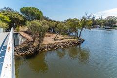Bred flodmynninglivsstiluppehälle i kanalerna av södra Yunderup arkivbilder
