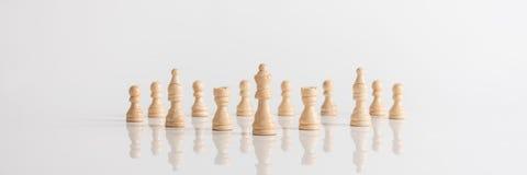 Bred panoramabild av drottningen och schackstycken Arkivfoton