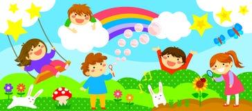 Bred remsa med lyckliga ungar stock illustrationer
