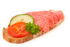 Bred with salami Royalty Free Stock Photography