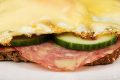 Bred with salami and fried eggs. Closeup of a bred with salami and fried eggs with cheese Royalty Free Stock Images
