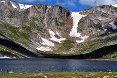 Bred sikt av toppmöte sjön Arkivfoton