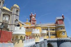 Bred sikt för Pena slott, Sintra, Portugal Fotografering för Bildbyråer