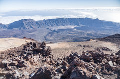 Bred sikt på calderaen av vulkan Teide, Tenerife Arkivfoto