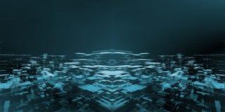 Bred skärm av abstrakt teknologistadsbakgrund som skapas från geometriska rektangelformer och pricklinjer För hi tech stora data arkivfoton