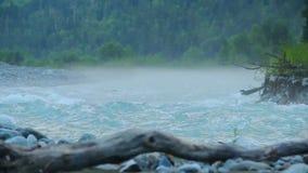 Bred vattenström som forsar till och med träna, turbulent vatten stock video