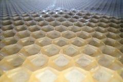 Bred vinkelmakro som skjutas av honungskakavaxet Abstrakt sikt av modellen för form för honunghårkamsexhörning royaltyfria bilder