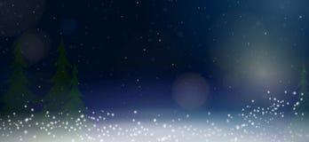 Bred vinterbakgrund med granträd, snö och runda ljus mot mörk himmel vektor illustrationer