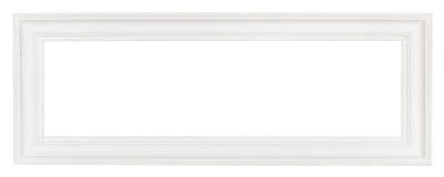 Bred vit panorama- träbildram arkivbilder