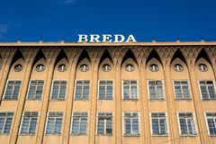 Breda, Opava, Czech Republic / Czechia. Frontal facade of abandoned historical architecture with ornamented ledge. Letters on the top of roof Stock Photography