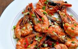 Bredd smör på vitlök Hipon (Fried Shrimps) Royaltyfri Foto
