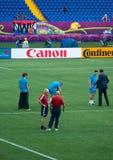 breddsteg den nationella Nederländernan för fotboll lagprov royaltyfri fotografi