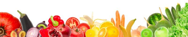 Brede collage van verse die vruchten en groenten voor lay-out op witte achtergrond wordt geïsoleerd De ruimte van het exemplaar vector illustratie