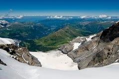 Brede hoekmening van Jungfraujoch. stock afbeeldingen