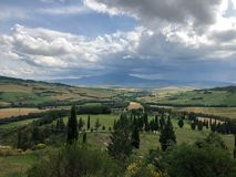 Brede hoekmening van Val D 'Orcia in Toscanië stock fotografie