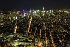 Brede mening van Manhattan bij nacht royalty-vrije stock foto