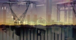 Brede mening van transmissietorens voorbij zonsondergang 4k vector illustratie