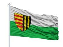 Bree City Flag On Flagpole, Belgio, isolato su fondo bianco Illustrazione di Stock