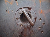 Breech block of old canon as metall background Stock Image