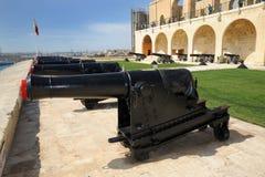 Saluting battery Malta. The breech loading guns of the salting battery Grand Harbour, Valetta, Malta. March 2013 Stock Photo