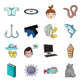 Breed, cat, fishing and other web icon in cartoon style.Travel, animal, vacation icons in set collection. Royalty Free Stock Photos