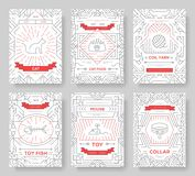 Breed cats thin line brochure cards set. Animal traditional template of flyear, magazines, posters, book cover, banners Royalty Free Stock Image