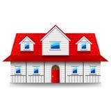 Breed die two-storey huis op witte vector wordt geïsoleerd Stock Foto