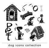 Breed dog collection icon, vector. black color Stock Images