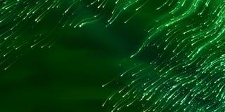 Breed-formaatkopbal met vliegende zwermglimwormen in nacht gloeiende sporen Stock Afbeelding